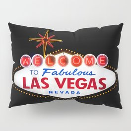 Vintage Welcome to Fabulous Las Vegas Nevada Sign on dark background Pillow Sham