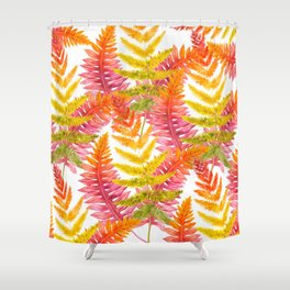 Hand painted pink orange watercolor fall fern floral Shower Curtain
