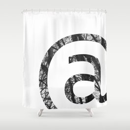 Minimal At Sign Print With Trees Photography Background Shower Curtain