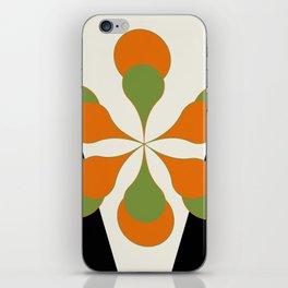 Mid-Century Modern Art 1.4 - Green & Orange Flower iPhone Skin