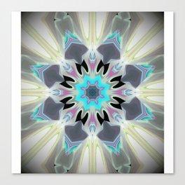 Aqua Peacock Inspired Mandala Canvas Print