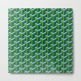 CCUBEDD - Geometric, 3D, Green, Optical Illusion Metal Print