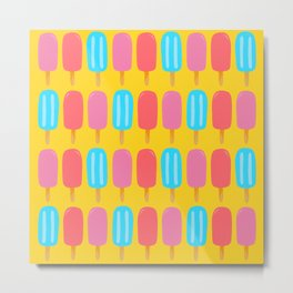 Ice Pops Print Yellow Metal Print