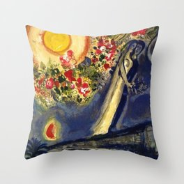 Lovers in the sky over Nice, France by Marc Chagall Throw Pillow