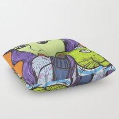 girl with cat Floor Pillow