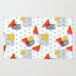 Bounce - abstract minimal retro throwback 1980s grid circle shapes memphis design pattern print art Rug