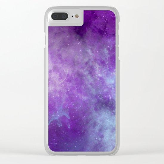 Purple Cloud Nebula Watercolor Universe Clear iPhone Case
