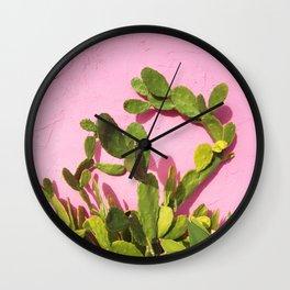 Pink Wall/Green Cactus  Wall Clock