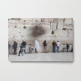 Praying at the Wailing Wall or Western Wall Metal Print