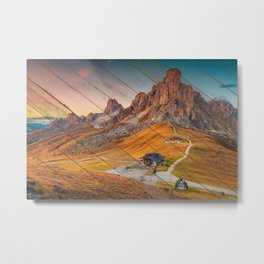 Faux Wood Majestic Sunset & Alpine Mountain Rural Landscape Photograph Metal Print