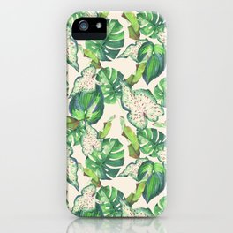 Tropical Green foliage Pattern iPhone Case