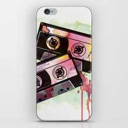 80's Retro Cassettes (Watercolor and Vector) iPhone Skin