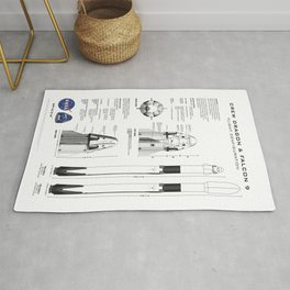 NASA SpaceX Crew Dragon Spacecraft & Falcon 9 Rocket Blueprint in High Resolution (white) Rug