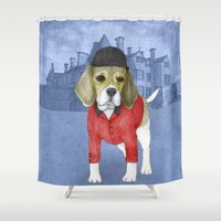 beagle Shower Curtains featuring Beagle by Barruf
