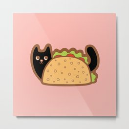 Taco Cat Black Metal Print