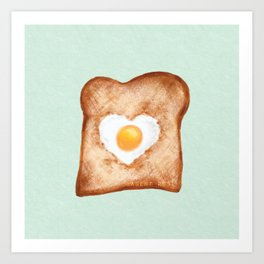 Heart In One Egg Toast Breakfast Food Love Art Print