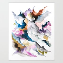 view from a hill: abstract watercolor painting. Art Print