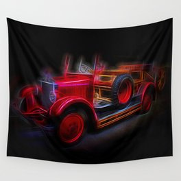 Fractal Red Car Vintage car Wall Tapestry