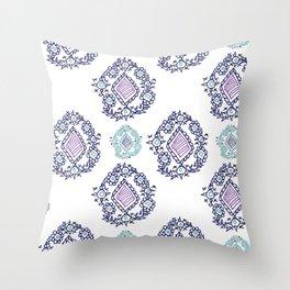 doodle ikat Throw Pillow