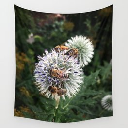 Bees on wildflowers in the summer garden 1 Wall Tapestry