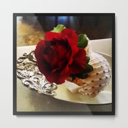 Red Rose in a Shell Metal Print