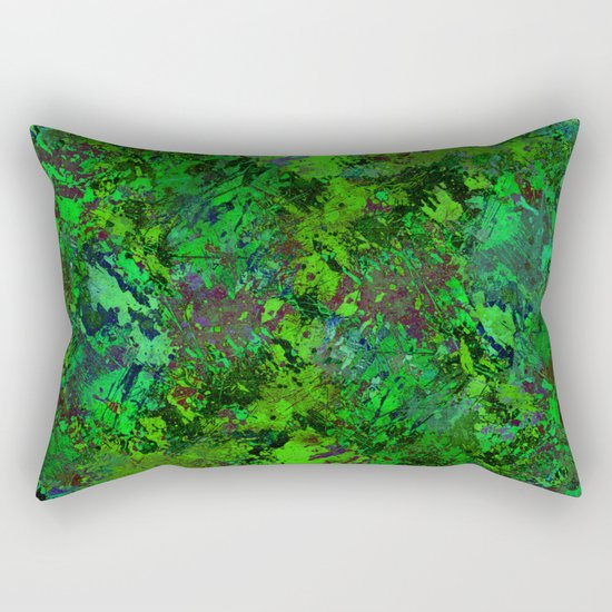 Lost In The Jungle - Abstract, green, jungle, foliage, leaves, forest themed artwork Rectangular Pillow