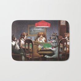 Dogs Playing Poker A Friend in Need Painting Bath Mat