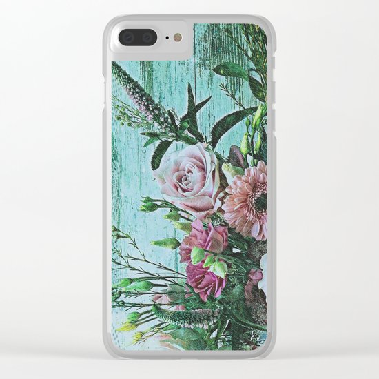 Shabby Pastel Floral Still Life Clear iPhone Case