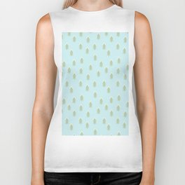Merry christmas- With snow covered x-mas trees pattern on aqua background Biker Tank