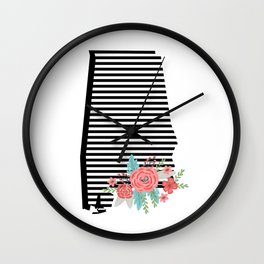 Alabama state silhouette university of alabama crimson tide floral college football gifts Wall Clock