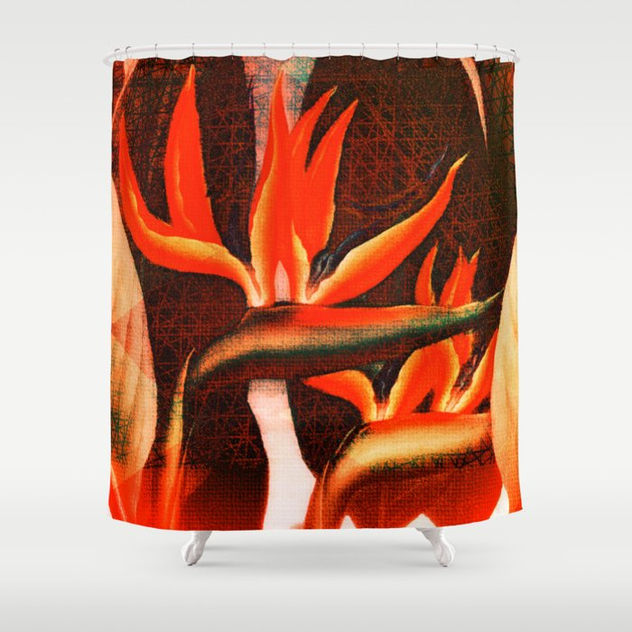 Floreal - Tropical Flowers Daydream Orange Peach Coral Shower Curtain