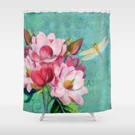 Verdigris Pink Magnolias Shower Curtain