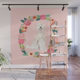 golden doodle dog floral wreath dog gifts pet portraits Wall Mural