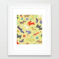 dogs Framed Art Prints featuring Dogs by Amy Schimler-Safford
