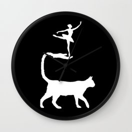 The Cat and the Ballerina-Silhouette-Animal-Surreal-Fantasy Wall Clock