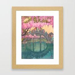 Yoshida Kameidô Japanese Woodblock Print Vintage Asian Art Wisteria Garden Bridge Framed Art Print