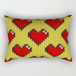 Knitted heart pattern - yellow Rectangular Pillow
