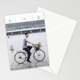Rainy Day Cyclist at Nanjing Railway Station | China Stationery Cards