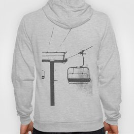 Chairlift Abyss // Black and White Chair Lift Ride to the Top Colorado Mountain Artwork Hoody