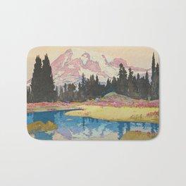 Mount Rainier  Vintage Beautiful Japanese Woodblock Print Hiroshi Yoshida Bath Mat