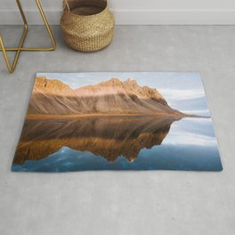 Symmetric Mountain Reflection In Iceland – Landscape Photography Rug