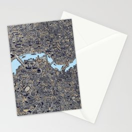 London color map city drawing illustration Thames Stationery Cards