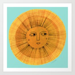 Sun Drawing - Gold and Blue Art Print