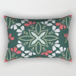 Decorative Floral Pattern 29 - Te Papa Green, Camouflage Green, Roman Red, Iron Gray Rectangular Pillow