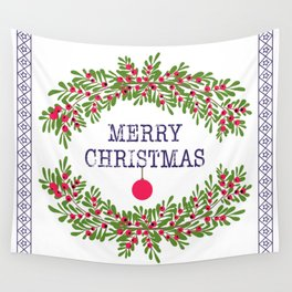 Merry christmas and happy new year white greeting card wreath light white background Wall Tapestry