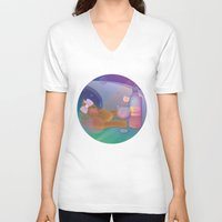 drunk V-neck T-shirts featuring Drunk Cat by Graphic Tabby
