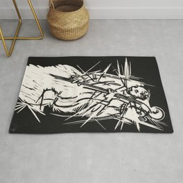 Bossa Pizzicato Jazz Bassist Black and White Block Print Rug