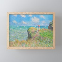 Cliff Walk at Pourville - Claude Monet Framed Mini Art Print