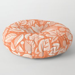 Psychedelic Folk Forest - Poppy Red + Ivory Floor Pillow