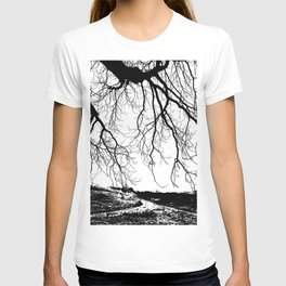 """""""Photography of Nature"""" Dirt Road with overhanging Horse Chestnut Branches in Winter at Piliscsev T-shirt"""